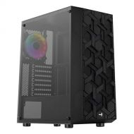 HIVE-G-BK-V3 Gabinete Gamer AeroCool Hive FRGB Media Torre ATX/ M-ITX/ M-ATX 1 Ventilador Panel lateral RGB Negro